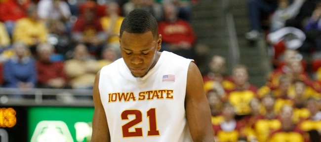 Iowa State forward Craig Brackins lowers his head after a turnover by the Cyclones during the first half, Saturday, Jan. 23, 2010 at Hilton Coliseum in Ames, Iowa.