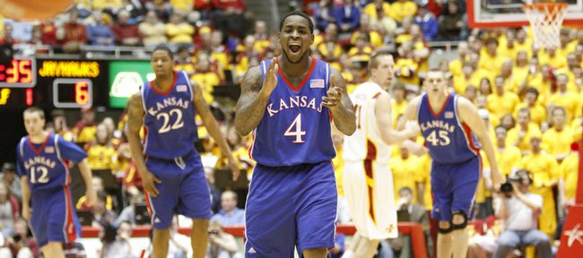 Kansas guard Sherron Collins claps his hands as an Iowa State player brings the ball up the court during the first half, Saturday, Jan. 23, 2010 at Hilton Coliseum in Ames, Iowa.