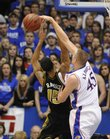 Kansas center Cole Aldrich blocks Missouri's Keith Ramsey Monday, Jan. 25, 2010 at Allen Fieldhouse.