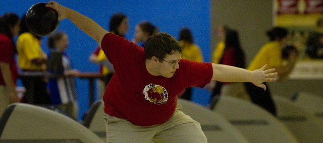 Lawrence High senior Ryan Miller bowls on Tuesday at Royal Crest Lanes. Miller finished third.