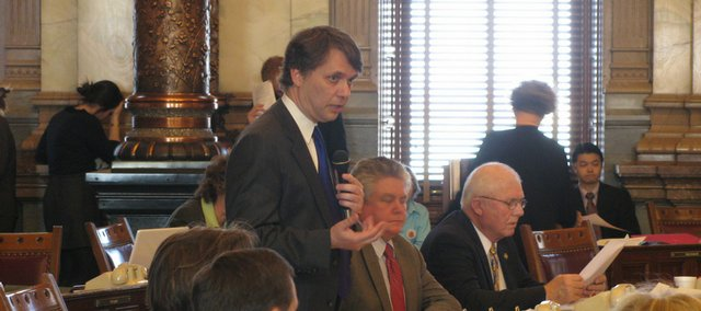 State Sen. Jeff Colyer, R-Overland Park, on Wednesday explains his amendment to repeal a 10 percent cut in Medicaid that was imposed by Gov. Mark Parkinson to balance the budget. Colyer's proposal was defeated by senators who said it would make the budget hole deeper. Lawmakers face a $400 million revenue shortfall in the fiscal year that starts July 1.