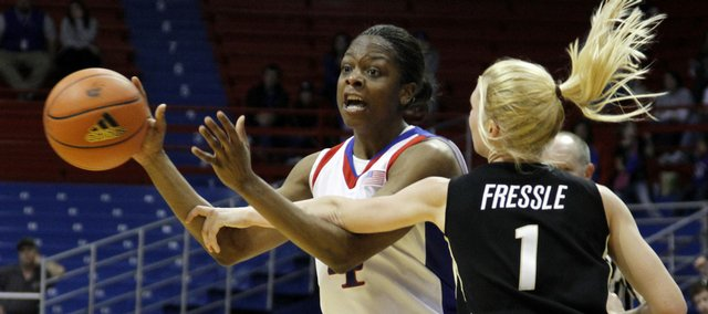 Kansas senior Danielle McCray (4) looks for the throw in the second half, Wednesday, Jan. 27, 2010 at Allen Fieldhouse.