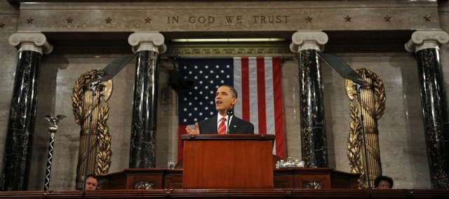 "President Barack Obama delivers his State of the Union address Wednesday on Capitol Hill in Washington. Obama emphasized his ideas, some new but mostly old and explained anew, for restoring job growth, taming budget deficits and changing a Washington so polarized that ""every day is Election Day."""