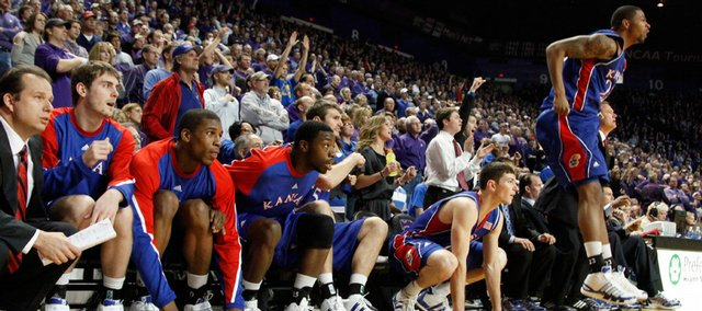 The Kansas bench watches a free throw go up late in overtime against Kansas State, Saturday, Jan. 30, 2010 at Bramlage Coliseum.