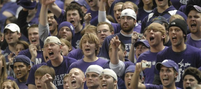 The Kansas State student section yells at Kansas guard Russell Robinson after Robinson picked up his fifth foul during the second half Wednesday, Jan. 30, 2008 at Bramlage Colliseum.
