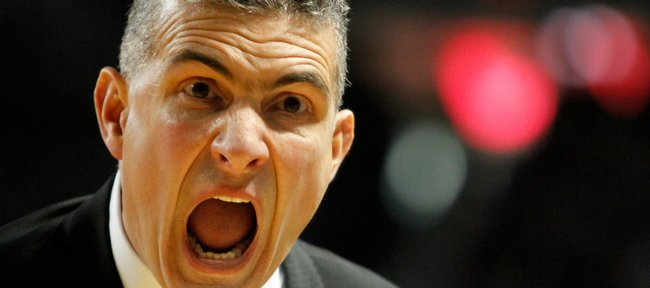 Kansas State head coach Frank Martin screams at his bench during the first half Saturday, Jan. 30, 2010 at Bramlage Coliseum.