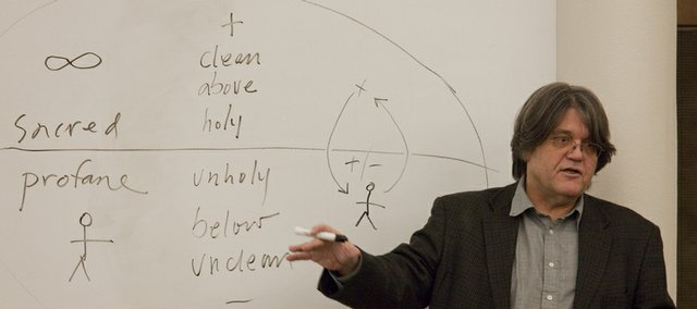 Paul Mirecki  teaches Understanding the Bible to a class at Smith Hall. Mirecki is an associate professor of religious studies at Kansas University.
