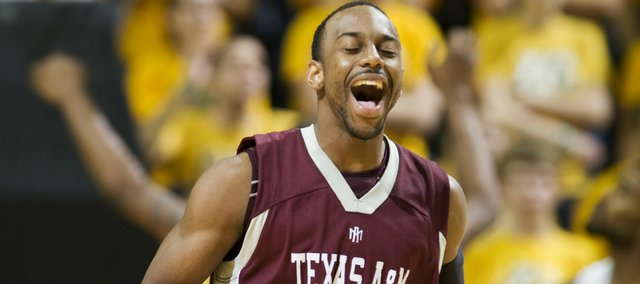 A Texas A&M player celebrates during the Aggies victory against Missouri Wednesday night. The loss snapped Missouri's 32-game home winning streak.