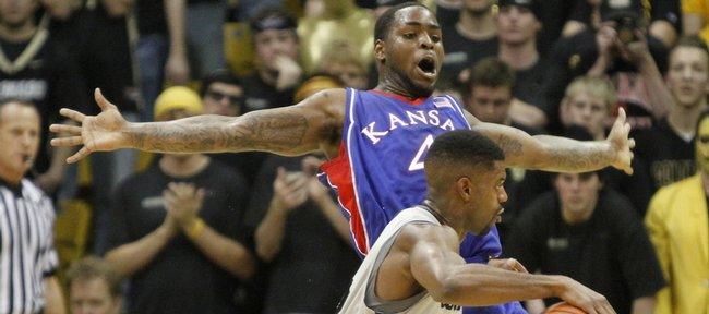 Kansas guard Sherron Collins defends Colorado guard Dwight Thorne II during the first half Wednesday, Feb. 3, 2010 at the Coors Event Center in Boulder.