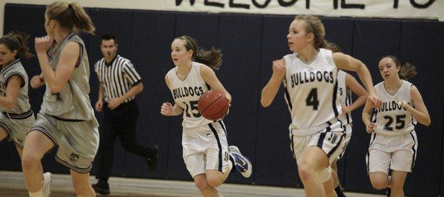 Southwest Junior High's Kennedy Kirkpatrick, No. 15, plays against Blue Valley Northwest on Wednesday.