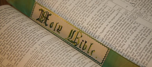 A special book mark resides inside a Bible that dates to the 1860s and belongs to Beverly Burrows' family.