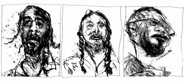 "Shown are charcoal sketches of inmates by Kerri Niemann from ""Jail Time,"" a book of poems about the jail experience by Brian Daldorph.  The book is available locally at The Raven Book Store, 6 E. Seventh St."
