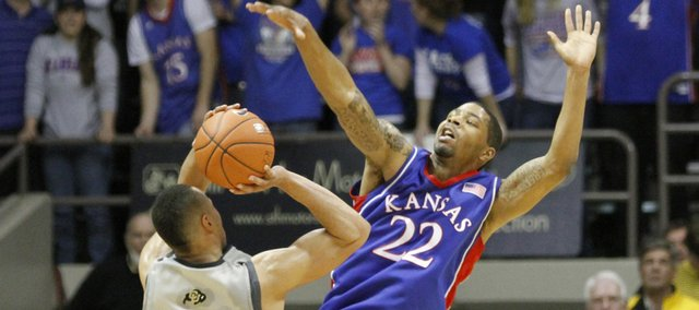 Kansas forward Marcus Morris stuffs Colorado forward Marcus Relphorde's last shot before the clock expires during overtime Wednesday, Feb. 3, 2010 at the Coors Event Center in Boulder.