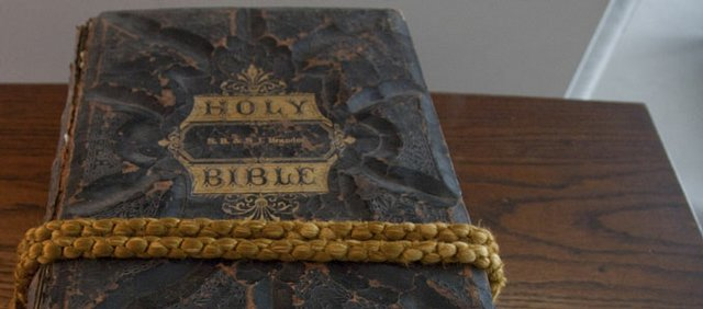 Mary Beth Petr keeps her family Bible on a special prayer stand wrapped with an old curtain cord.