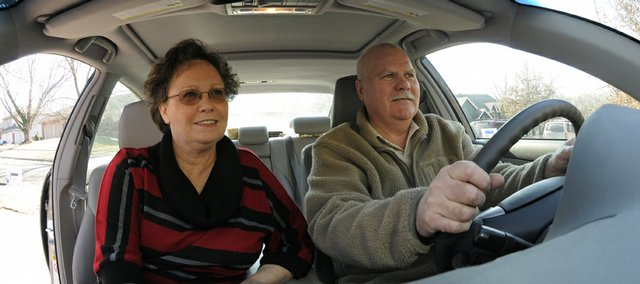 From left, Terry and Steve Betzen, both 61-year-old Lawrence residents, recently completed the AARP Driver Safety Course. Terry Betzen says her husband normally drives.