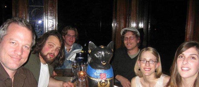 Gordy Hoffman, left, at dinner with BlueCat interns Josh Nathan, Alex Backus, Travis Bronson, Sarah Tucker and Laura Herrington.