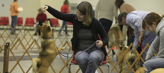 Amanda Gilbert of Topeka and her Shiba Inu named Keriko were among dogs and owners practicing their skills at a Feb. 10 class at the Douglas County Fairgrounds.