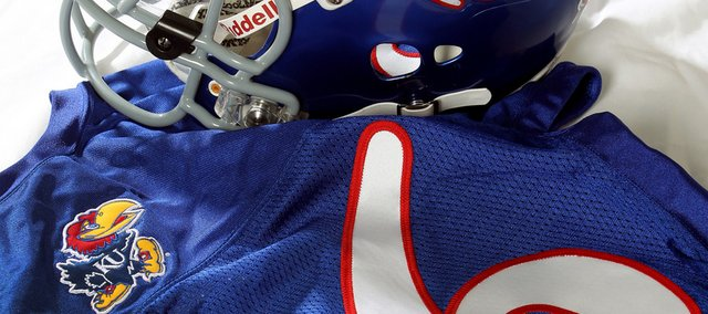 A Jayhawk logo will appear instead of last names on the back of 2010 Kansas football uniforms.