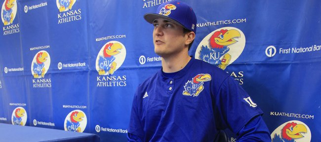 Kansas junior Tony Thompson sits by his crutches Wednesday during KU's Baseball Media Day in McCarthy Family Clubhouse.