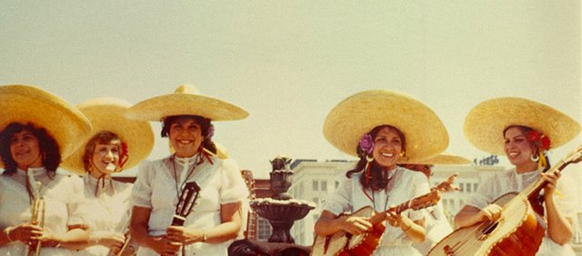 Members of Mariachi Estrella de Topeka included (from left) Dolores Carmona, Linda Scurlock, Dolores Galvan, Connie Alcala and Rachel Galvan Sangalang.