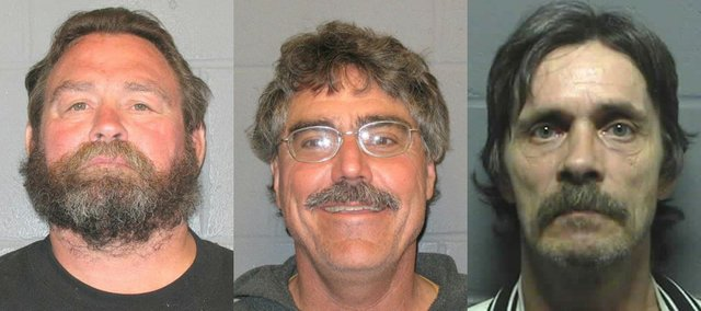 The three individuals charged for methamphetamine trafficking are pictured above. Randy Dyke, Donald Steele and Anthony Sims were charged by authorities following a raid of a residence east of Lawrence.