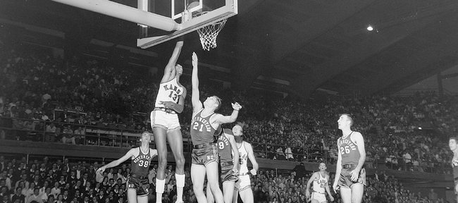 Wilt Chamberlain plays in his first game as a Kansas Jayhawk a