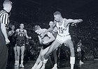 Wilt Chamberlain plays in his first game as a Kansas Jayhawk against Northwestern University on 1956. Wilt had 52 points and 31 rebounds in his debut.