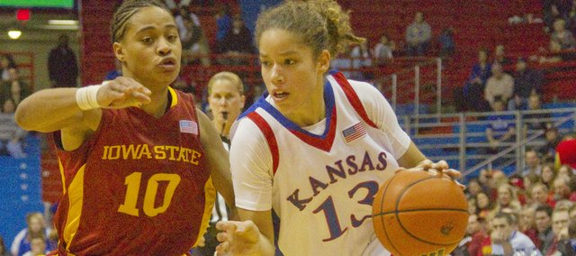KU guard Monica Engelman (13) drives against Iowa State's Denae Stuckey (10) in the Jayhawks' 57-54 home loss.