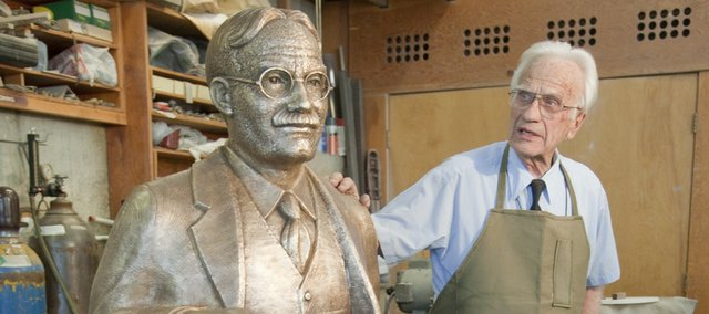 Sculptor Elden Tefft, Lawrence, has completed his latest sculpture: a bronze casting of James Naismith, the inventor of basketball. The statue is headed to Springfield College, in Springfield, Mass., where Naismith invented the game before coming to Kansas University.