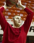 Kansas center Cole Aldrich warms up before taking on Oklahoma State at Gallagher-Iba Arena in Stillwater, Okla. Saturday, Feb. 27, 2010