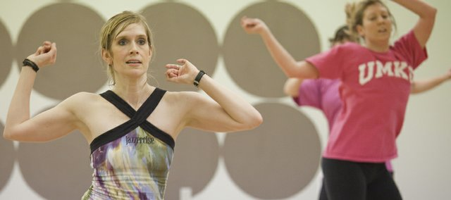 Jazzercise franchise owner Jennifer Colaner, a certified instructor, participates in a class.
