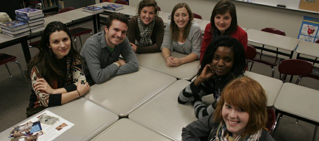Members of the Miriam's Circle: Community Storytelling Team 2010, from left: Lawrence resident Autumn Riff, Free State High School teacher Andrew Nussbaum, FSHS junior Hayley Francis, FSHS senior Christina Picicci, FSHS senior Carlin Francis, FSHS senior Ruaa Hassaballa and Kansas University freshman Michelle Wilson. The group will spend about two weeks in Kenya in June.