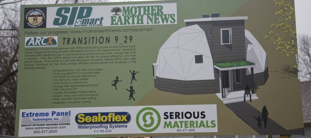 Michael Morley and his Lawrence-based company SIPSmart Building Systems are teaming up with LawrenceÕs Tenants to Homeowners to build a new dome-home structure on the northwest corner of 13th and New Jersey streets. An illustration of the house is on a billboard at the lot in East Lawrence.
