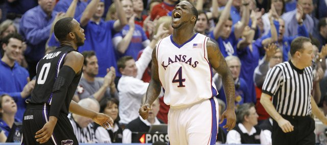 Kansas guard Sherron Collins lets out a celebratory yell as the Jayhawks pull away from rival Kansas State during the second half, Wednesday, March 3, 2010 at Allen Fieldhouse.