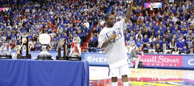Kansas senior Sherron Collins says goodbye to the Fieldhouse crowd following his senior speech Wednesday, March 3, 2010 at Allen Fieldhouse.