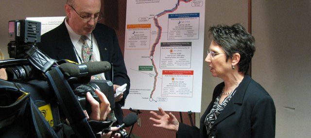 Kansas Secretary of Transportation Deb Miller on Thursday speaks with reporters about a new study that outlines four possible routes for more passenger rail service in Kansas. Miller said the study represents the first step in a long process before Amtrak service is expanded.