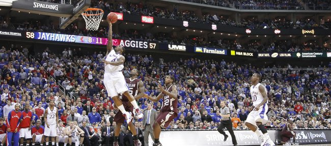 Sherron Collins moves toward the basket during the Big 12 Tournament semifinal at the Sprint Center, Friday, March 12, 2010 in Kansas City, Mo.