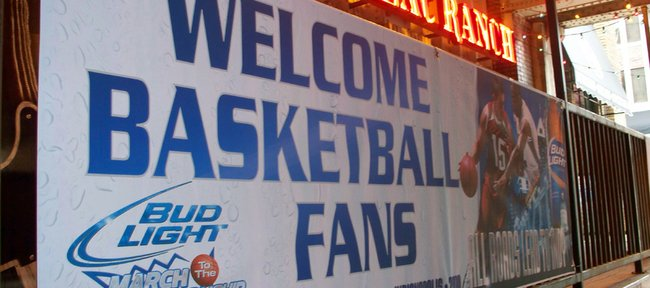 Signs welcoming basketball fans such as this one are scattered throughout downtown Indianapolis in anticipation for the Final Four that will be played nearby April 3-5.