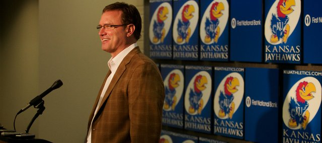 Kansas University basketball coach Bill Self speaks with the media at a Selection Sunday news conference.