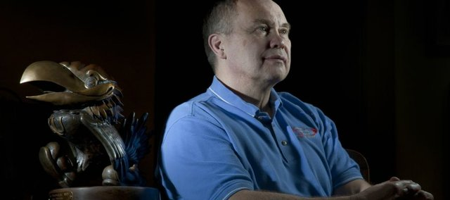 Dr. Ken Wertzberger, a Lawrence orthopedic surgeon, recalls working with Kansas University student athletes for 27 years during a 2010 interview. He was honored last year with the bronze Jayhawk statue by the KU Athletics Department. Recently, he decided to leave OrthoKansas after 32 years and start his own practice in Lawrence.