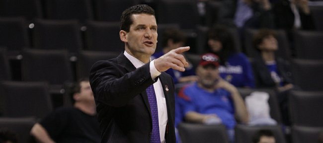 Northern Iowa head coach Ben Jacobson directs his offense during the first half Thursday, March 18, 2010 at the Ford Center in Oklahoma City.