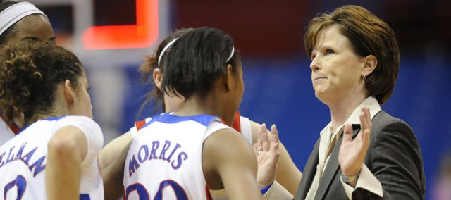 KU coach Bonnie Henrickson calms her team in the late seconds of the Jayhawks' 71-68 victory against Creighton on Sunday March 21, 2010.
