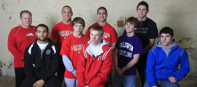 Richard Gwin/Journal World photo.From front left, Ammon Austin Free State, Hunter Haralson LHS, Tyler Crotinger Santa Fe Trail, Bryce Shoemaker Baldwin, Dennis Madden Perry-Lecompton from rear left, Coach Patrick Naughton LHS, Reese Wright-Conklin LHS, Dustin Walthell LHS, Caleb Claton-Molby Eudora.