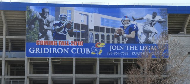 A banner still hangs on the east side of Memorial Stadium, telling of the Gridiron Club. Fundraising for the project is still in the works.