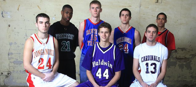 The 2009-10 All-area Boys Basketball team: front row, from left, Tonganoxie's Keaton Schaffer, Baldwin's Justin Vander Tuig, Eudora's Justin Ballock; back row, from left, Free State's Eric Watson, Santa Fe Trail's Jason Lee, Oskaloosa's Adam Bowser and Lawrence High's Marcus Ray. Not pictured: Seabury Academy's Reed Grabill, Ottawa's Adam Hasty and Semi Ojeleye, and Ottawa coach Jon McKowen.