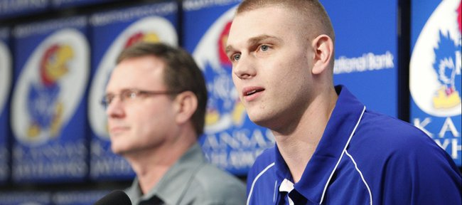 Kansas center Cole Aldrich declares his intention to enter the NBA draft alongside head coach Bill Self, Monday, March 29, 2010 at Allen Fieldhouse.