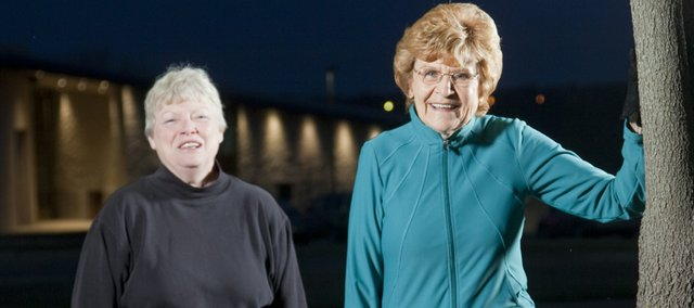 Marilyn Hall, left, and Rita Spradlin are in an all-female walking club known as the Jabber-walkers. Both women will participate in the 2010 Lynn Electric Kansas Marathon, presented by Hy-Vee, on April 18.