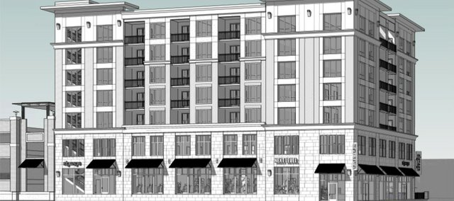 An architectural rendering of a proposed seven-story building from the perspective of Ninth and New Hampshire Streets.