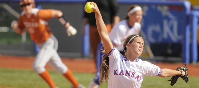 Kansas pitcher Alex Jones delivers against Texas. The Jayhawks were shut out by the Longhorns, 7-0, on Friday at Arrocha Ballpark.