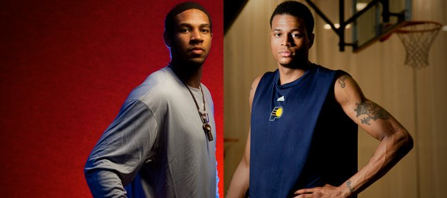 Physically and statistically, Xavier Henry, left, and Brandon Rush cut similar figures as freshmen on Kansas University's basketball team. Yet the consensus is that Henry is a one-and-done, while Rush was considered not ready to go pro after his freshman year. What gives?